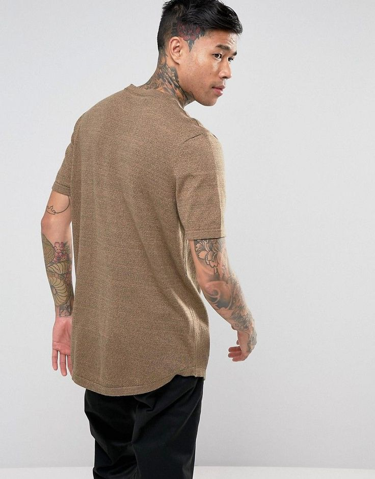 ASOS Knitted T-Shirt In Tan Twist - Tan