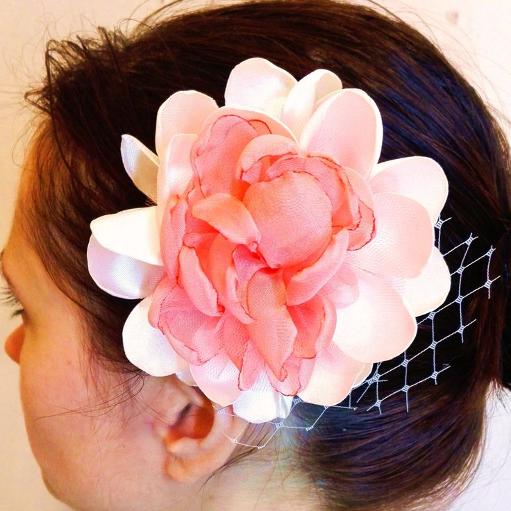 Big Hair Flower, Wedding or Special Occasion Hair Accessory, Ivory and Pink Hair Flower by AnaManoleAtelier on Etsy