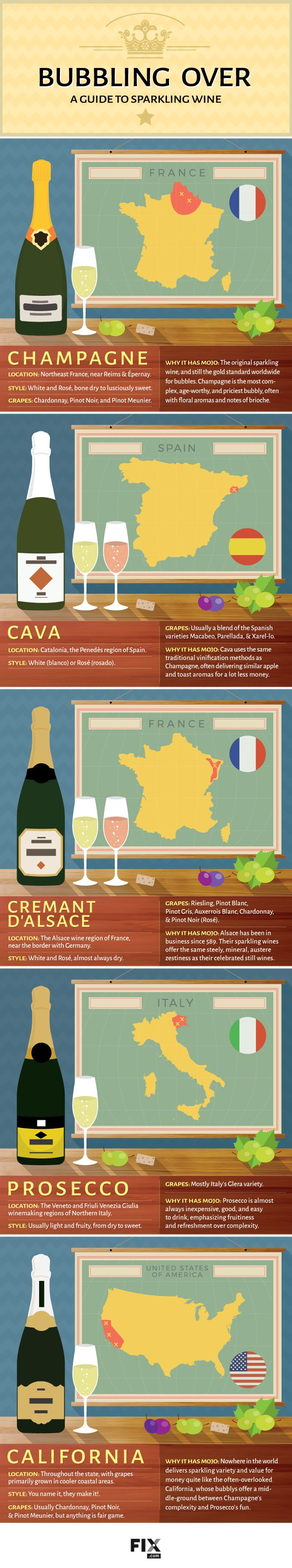 Bubbling Over A Guide to Sparkling Wine #infographic #Wine #Food