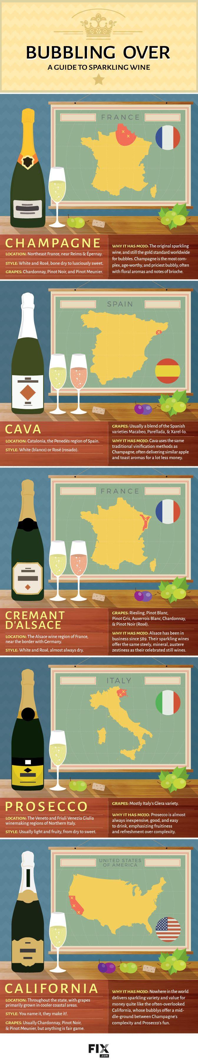 Bubbling Over A Guide to Sparkling Wine #infographic #Wine #Food Burbujeante guía sobre los vinos espumosos. #infografía #vinos
