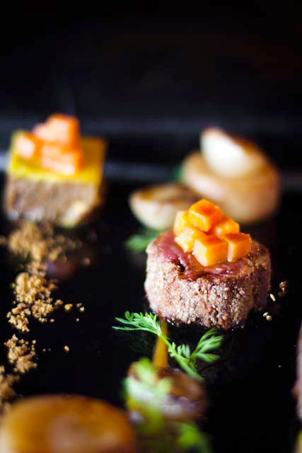 Duo of Organic Beef with Potato Fondant, Apricot Purée, Caramelised Onion and Cumin Jus   Crush 30