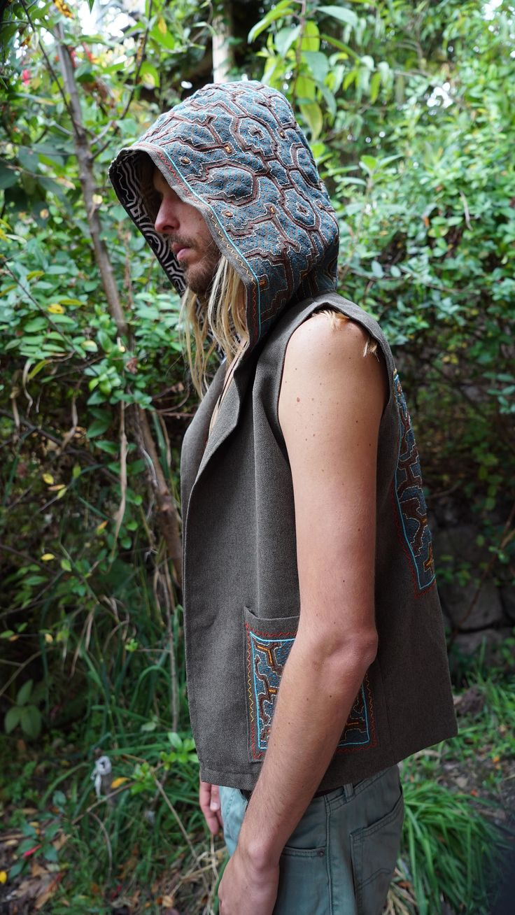 "Shakruna ""Ikaro Dreaming"" ,Shipibo Hand Embroidered, Hooded Waistocat with Large Cowl Hood for Men US LARGE by Shakruna on Etsy"