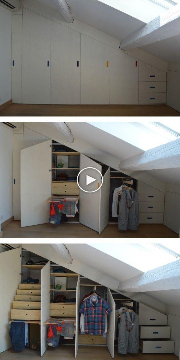 Armadio In Mansarda Concepito Con Scheletro In Alluminio E Tamponamenti In Legno Attic Bedroom Closets Home Loft Room