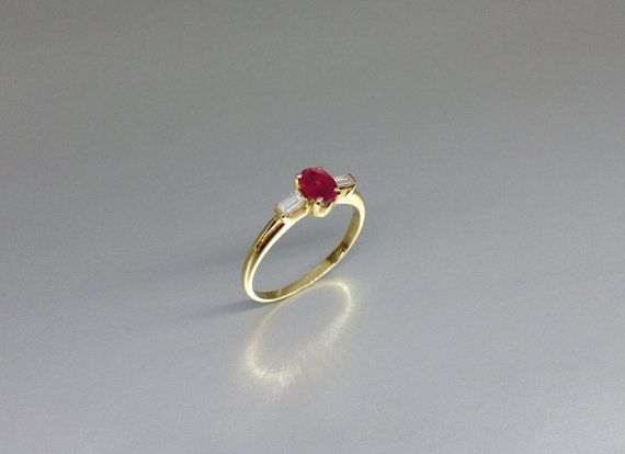 Exquisite Ruby ring featuring two diamonds and 18K gold by gemoryprague. Explore more products on http://gemoryprague.etsy.com