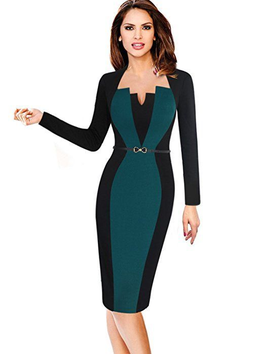 56eab72e1769 VfEmage Womens Elegant Colorblock Contrast Work Business Casual Pencil Dress  8123 GRN 12 at Amazon Women s Clothing store