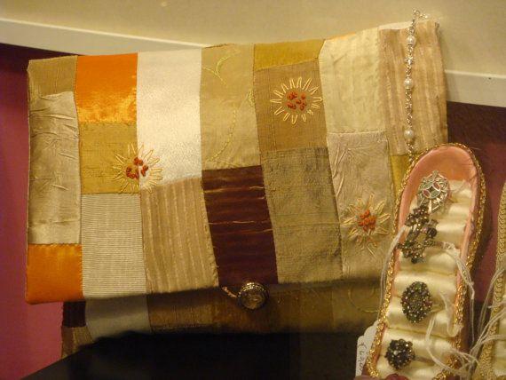 Silk & faux silk Patchwork Clutch Bag, Gold cream tangerine mix, Hand Embroidered with pure Silk thread