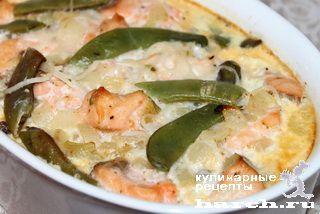 Рыбная запеканка со спагетти и зеленой фасолью, retsepty dlya kormyashhih mam headline vtorye blyuda iz ryby vtorye blyuda