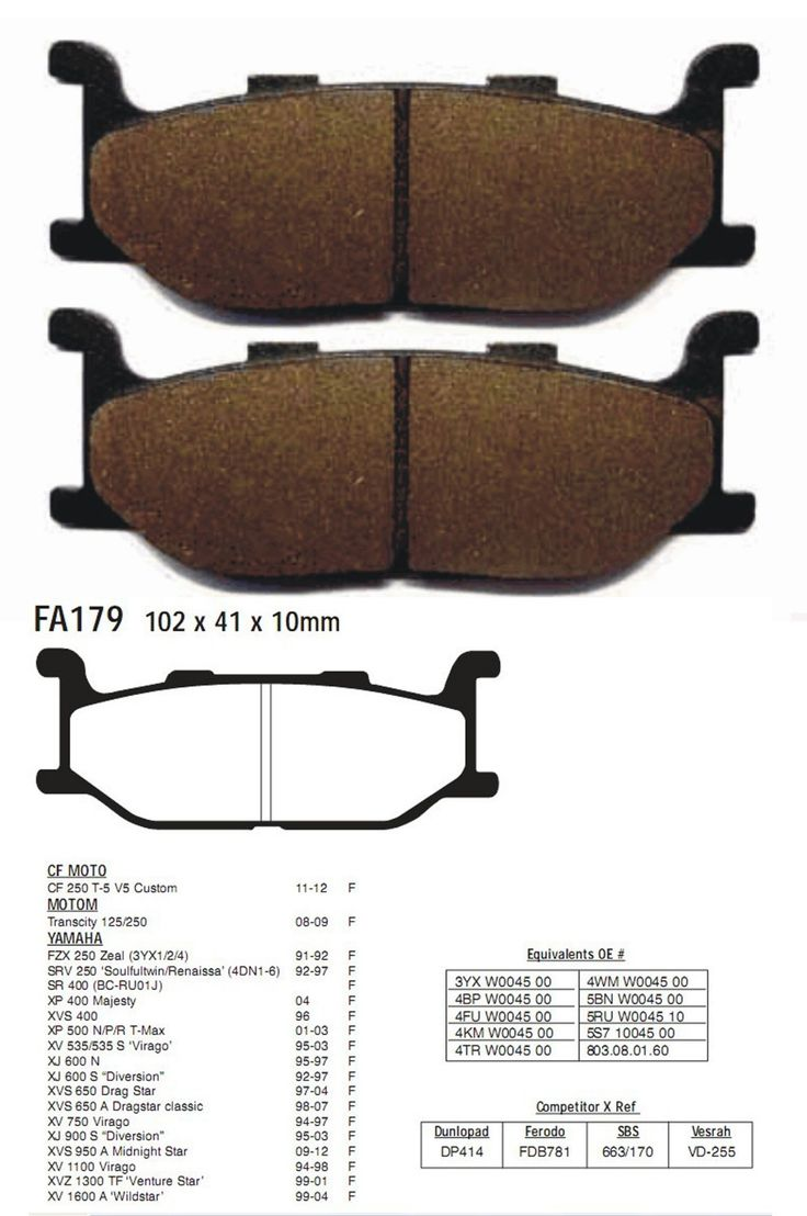 Brake Pads XP 400 Majesty XVS 400 XP 500 N P R T Max XV 535