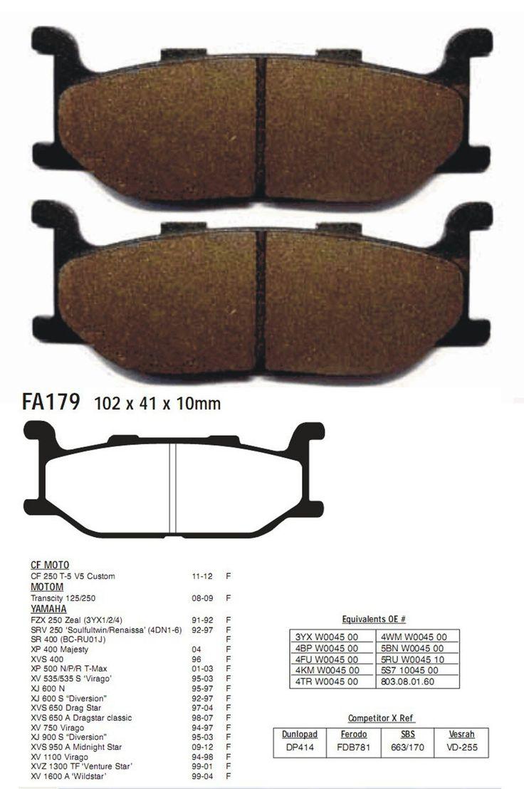 Brake Pads XP 400 Majesty XVS 400 XP 500 N P R T Max XV 535