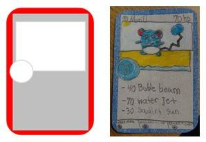 Make your own Pokemon cards.  I created a blank Pokemon card in Word, printed out multiple copies on card stock paper  and let the kids create their own unique Pokemon, or copy a card they already had.