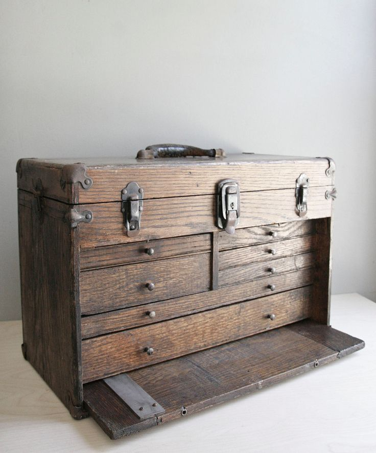 machinist's tool chest / wood drawer chest  one for silver jewelry and one for gold jewelry.