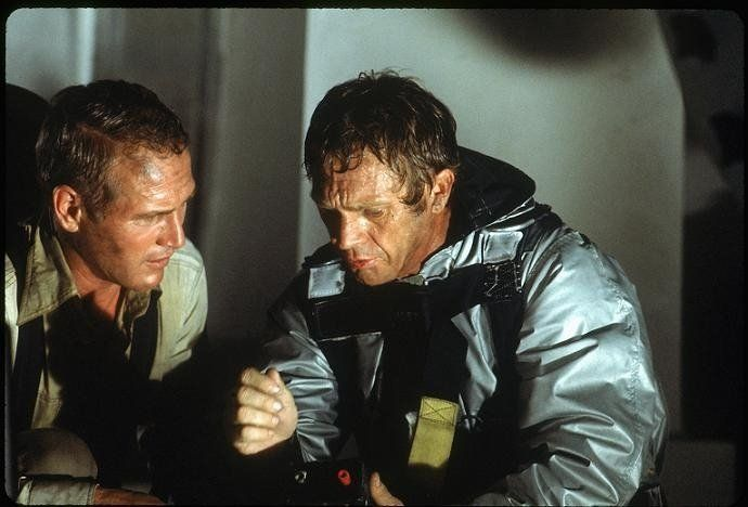 "Still of Paul Newman and Steve McQueen in ""The Towering Inferno"", 1974"