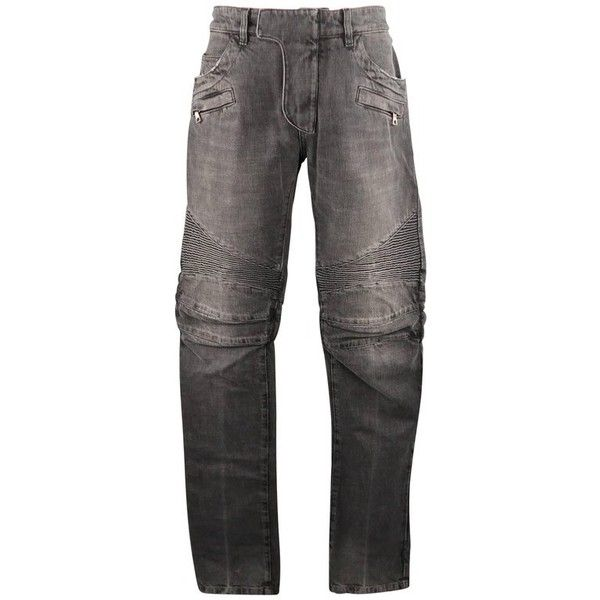 Preowned Men's Balmain Size 32 Gray Washed Denim Moto Jeans (705 AUD) ❤ liked on Polyvore featuring men's fashion, men's clothing, men's jeans, grey, jeans, mens biker jeans, mens torn jeans, mens grey jeans, mens ripped jeans and mens grey ripped jeans
