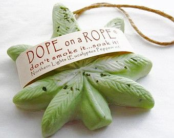 Dope on a Rope Soap - Northern Lights - Hemp Soap - Eucalyptus Peppermint  Oil - Marijuana Cannabis Pot Gifts - Green - St. Patricks Day