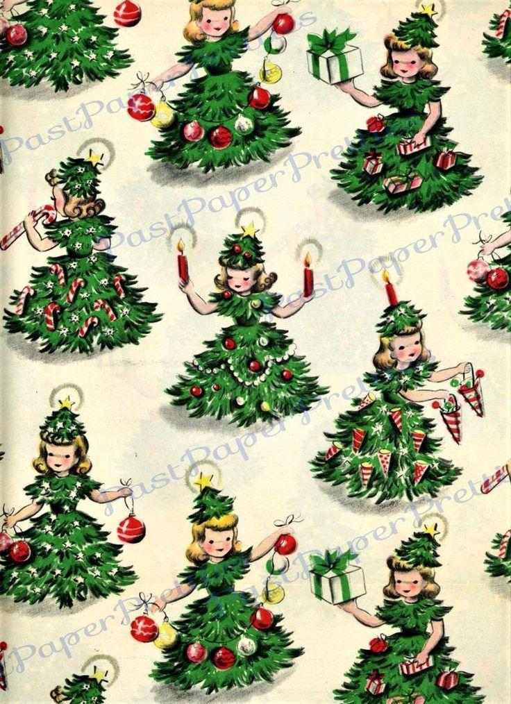 Vintage Retro Printable Gift Wrap Christmas Tree Girls Collage Etsy Vintage Christmas Wrapping Paper Vintage Christmas Images Christmas Paper