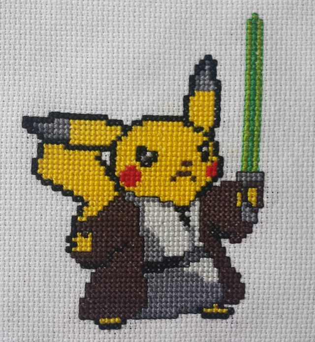 Yodachu! by @snoopina813 from a hand drawn pattern. Props to my #crossstitch #starwars #http://geekpic.twitter.com/inijh6CMgN