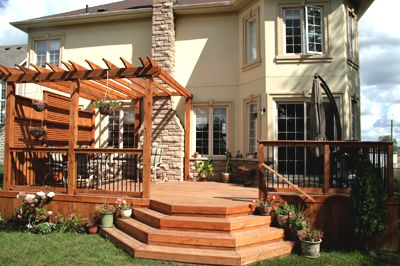 Awsome deck!Delta Decks, Outdoor Ideas, Decks Toronto, Beautiful Decks, Decks Ideas, Cedar Decks, Backyards Decks, Multilevel Decks, Decks Stairs