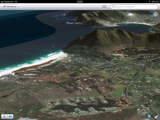Apple Maps has been somewhat derided, but it produces these beautiful 3D images — here of the Noordhoek region, with Hout Bay peeking out from behind.