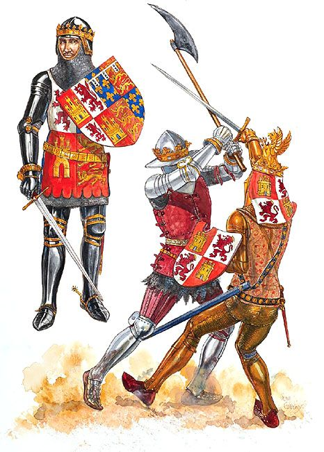 14th-Century Rulers of Castile and Aragon - John of Gaunt, King Consort of Castile & León 1386, King Pedro I of Castile 1367-69  and King Enrique II of Castile 1369.