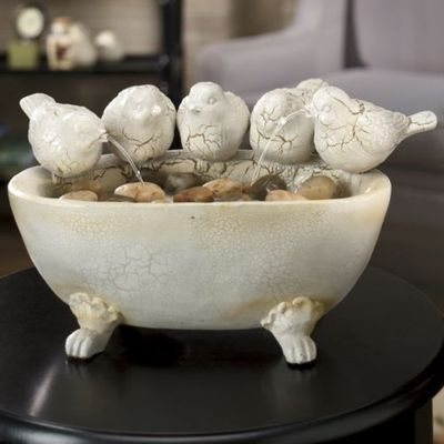 French Country Bird Fountain Indoor Table Top Crackle