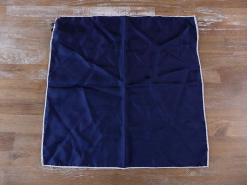 auth DRAKE'S Drakes of London solid navy silk pocket square handkerchief - NWOT