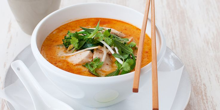 Chicken & Broccolini Laksa Serves: 2 Cals per serve: 305 Prep time: 20mins Cooking time: 10mins Ingredients 1g 0live oil spray 1 tablespoon laksa paste 2 cups chicken stock 1 can light coconut flavoured evaporated milk 200g raw, lean chicken breast, thinly sliced 1 bunch broccolini 120g bean shoot 1/4 bunch mint 1/4 bunch fresh coriander 1 medium lime, cut into wedges to serve Method: 1. Spray the base of a large saucepan with olive oil and heat over medium heat. Add the laksa p...
