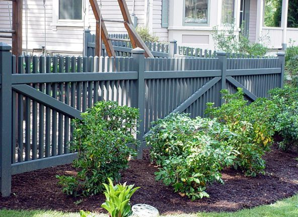 Dark Gray Black Picket Fence Fences Fence Front Yard