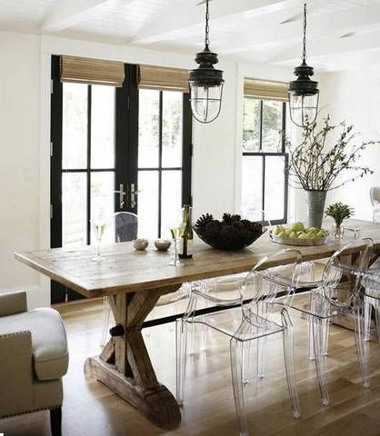 modern rustic interior design long wooden dining table with acrylic chairs