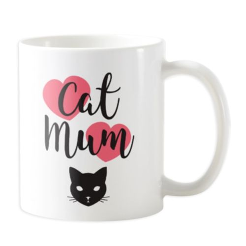 Cat Mum with Hearts - Novelty Cat Mug (More Colours)