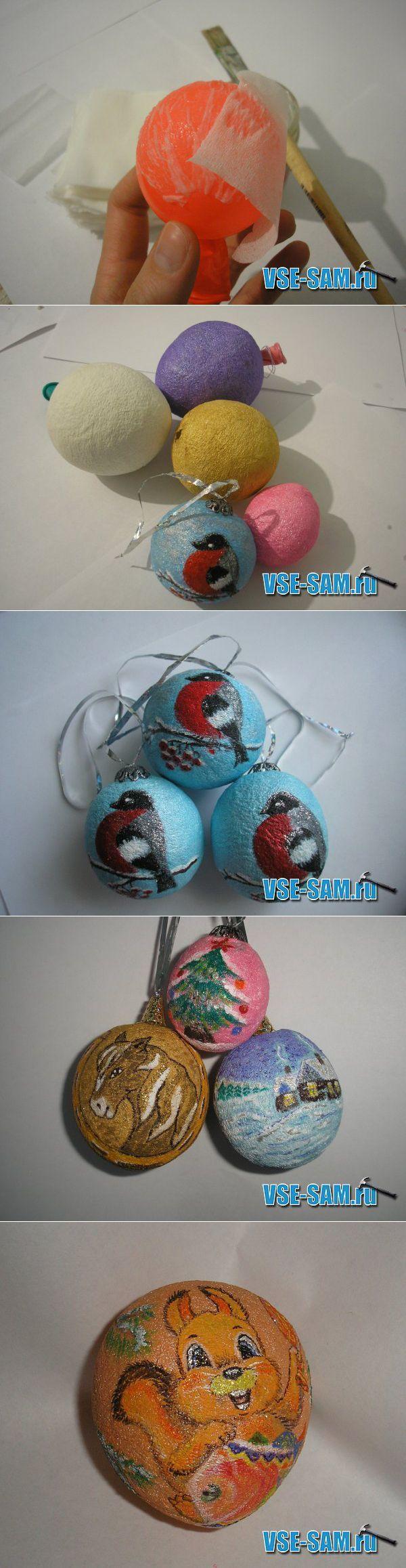Новогодние елочные игрушки своими руками из папье-маше