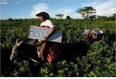 """Cada fin de semana por más de diez años, Luis Soriano, un maestro en el pequeño pueblo de Gloria, Colombia, llevó a la carretera. Acompañado por sus dos burros, Alfa y Beto, responsable de los libros de todo tipo, Luis trae la lectura a los niños de los agricultores. Hecho de no tener una biblioteca ambulante, inventó el """"biblioburro"""""""