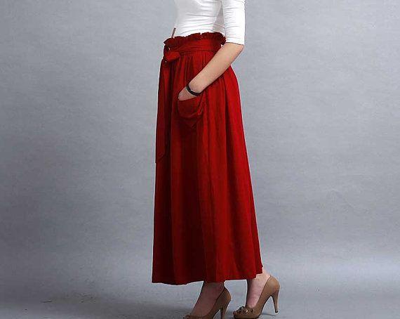 Rode rok een lijn rok Maxi linnen rok Pleated rok elastiek