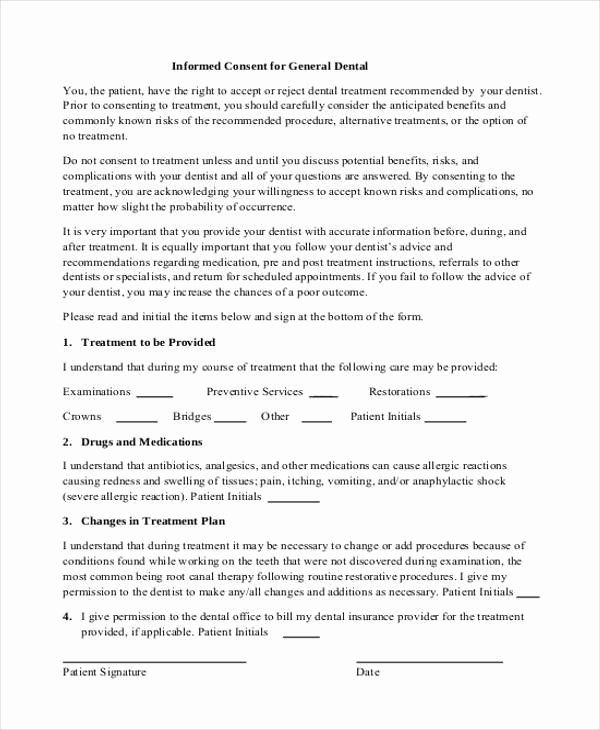Consent To Treat Form Template Unique 7 Dental Consent Form Samples Free Sample Example Dental Treatment Alternative Treatments Consent Forms