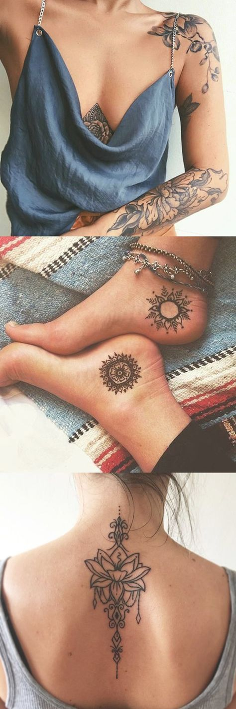 Mandala Tattoo Placement Ideas - Spine Lotus Tatt - Small Foot Ankle Sun moon Tat - Shoulder Blade Floral Flower Tatouage - MyBodiArt.com #TattooIdeasShoulder