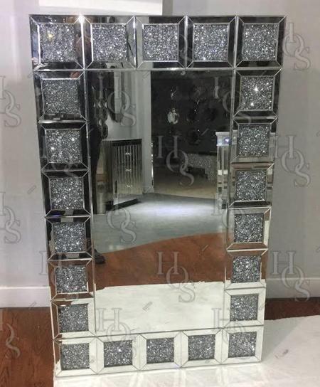 Diamond Crush 'Square' Mirrored Wall Mirror