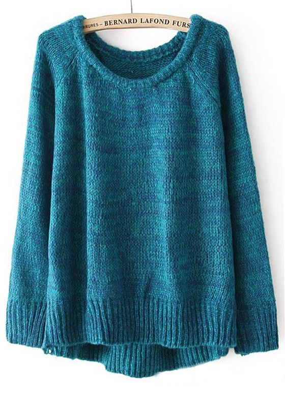 Turquoise Plain Irregular Collarless Loose Cotton Blend Sweater