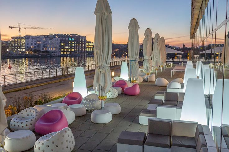 Plust installation - Nhow Hotel Gumball Armchair & Sofa, Airball Armchair, T-Ball Table as well as the Buba Light. All suitable for outdoor use and available from SW Contracts 011 262 3521 www.swcontracts.co.za info@swcontracts.co.za