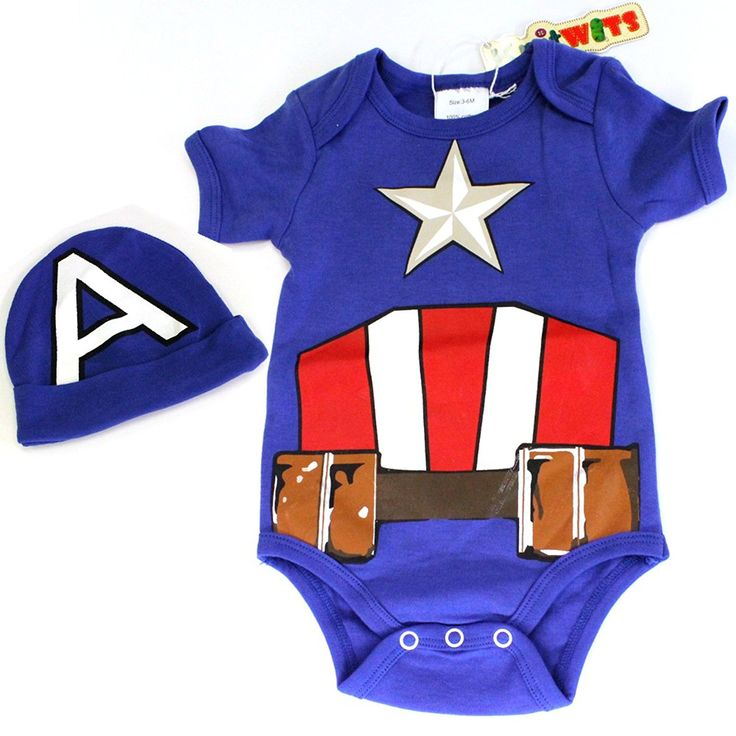 Another from the comic book collection. Possibly something a baby Sheldon, Raj, Wolowitz, or Leonard might wear. Captain America onesie printed on the front and back. Comes with a hat