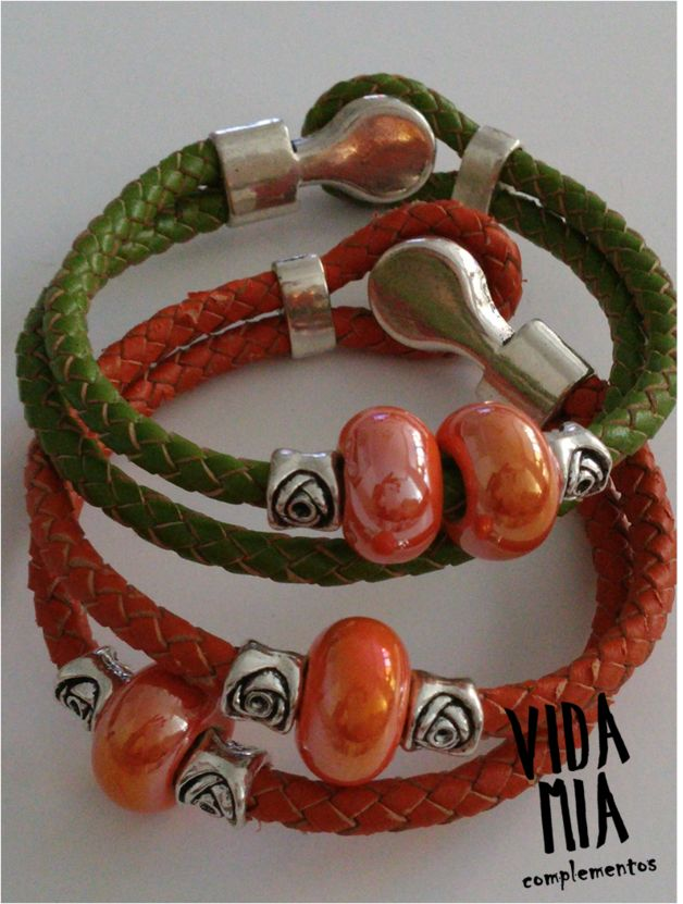 Pulseras - Pulsera de cuero trenzado - hecho a mano por VIDA-MIA-complementos en DaWanda