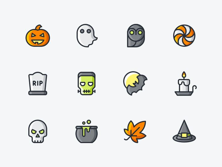 Halloween Icon Set by Denis Rodchenko http://iconutopia.com/inspiration/best-icons-of-the-week-6/