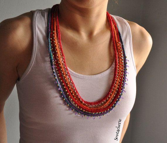 Multi-Strang Stammes-Schmuck, Hippie Halskette, Halskette, Masai Halskette doppelt beidseitig Halskette, geflochtene Halskette, bunte Halskette Kette