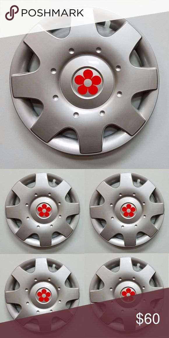 """Set/4 1998-2009 16"""" VW Beetle daisy wheel covers Darling, new, daisy wheel covers/hubcaps for Volkswagen Beetle. Set of 4 new 16"""" 8 spoke wheelcovers for 1998, 1999, 2000, 2001, 2002, 2003, 2004, 2005, 2006, 2007, 2008, 2009Volkswagon New Beetles with steel wheels.  These have metal clips for better retention on the wheel. These havered daisy vinyl sticker on the centers. Perfect for the hippy in all of us. Manufacturer Part Number: Replaces 1C0601147CGJW. I purchased these aftermarket…"""