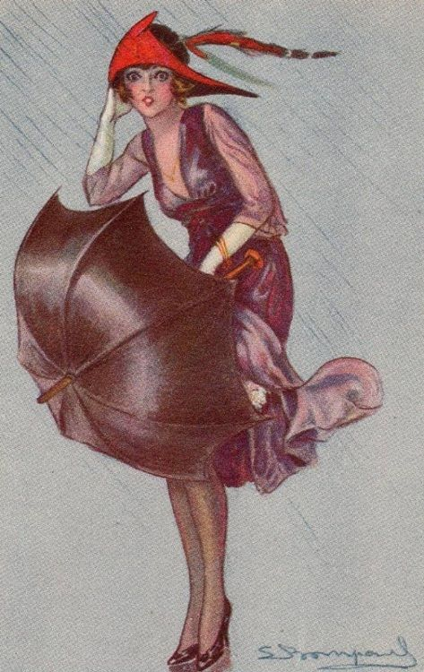 'Spring Showers' - Illustration by Sergio Bompard - Postcard, 1920's