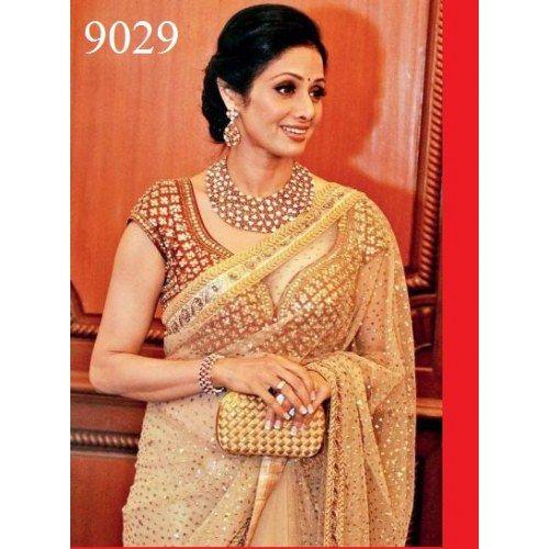 Indian Designer Bollywood Replica Sridevi Golden Beauty party wear saree