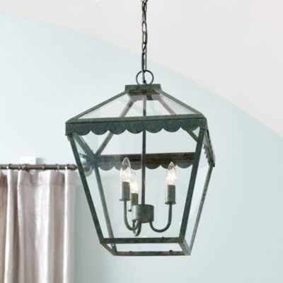 Handmade Of Iron With Heavily Mottled Verdigris Finish And Four Clear Glass Windows Park Lane Lantern Features