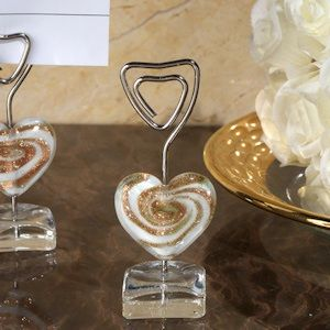 murano gold glass heart place card holder
