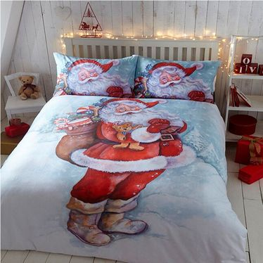 Jolly Santa / Father Christmas King Size Bedding Set http://www.childrens-rooms.co.uk/jolly-santa-father-christmas-king-size-bedding-set.html #jollysantakingsize #vintagechristmasbedding #