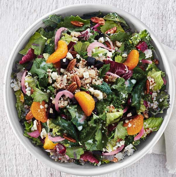 Arugula, romaine, kale and radicchio blend and pickled red onions ...