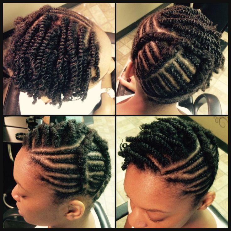 Natural Hair style with braids and twist