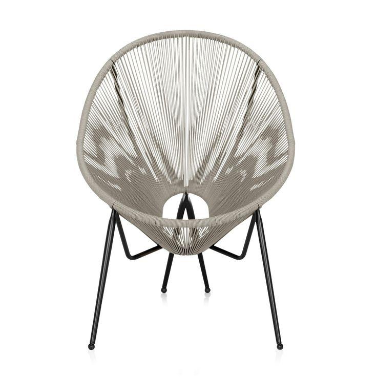 Fauteuil de jardin fil scoubidou gris Gris - Kadom - Les fauteuils de jardin - Les tables et chaises - Jardin - Décoration d'intérieur - #AlineaPE2014
